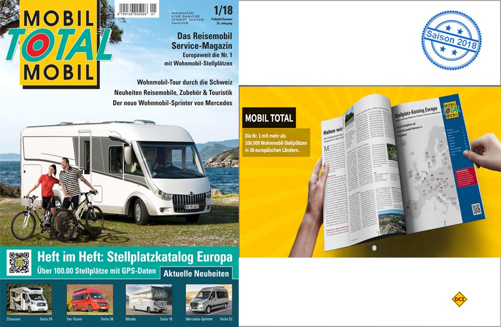 mobil total europas gr ter reisemobil stellplatz katalog liegt vor deutsches caravaning. Black Bedroom Furniture Sets. Home Design Ideas