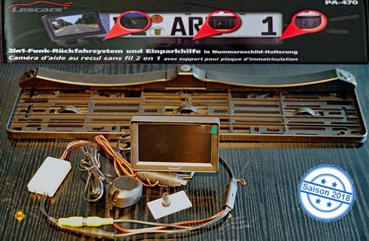 Mit dem Funk-Rückfahrsystem Lescars PA-470 bietet Pearl eine Rückfahrkamera mit integrierter Einpakrhilfe zur einfachen Selbstmontage an. (Foto: det)