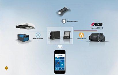 Die Alde Warmwasser-Heizung 3020 kann jetzt auch in das iNet-System von Truma integriert und mit dem Smartphone bedient werden. (Grafik: Truma)