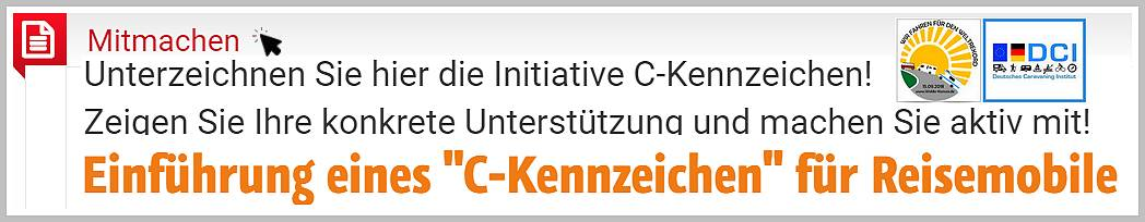 Die Initiative C-Kennzeichen fordert klare Regeln und konkrete Hilfen für Wohnmobilisten. Auf der Webseite www.c-kennzeichen.de kann man aktiv mitmachen! (screenshot: tom)