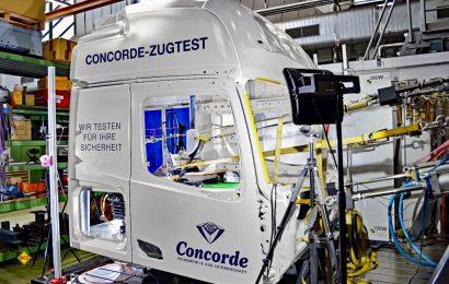 Der Concorde-Zugtest prüft alle Sitze und Gurte sowie Fahrerhaus und Bodenplatte auf optimale Sicherheit. (Foto: Concorde)