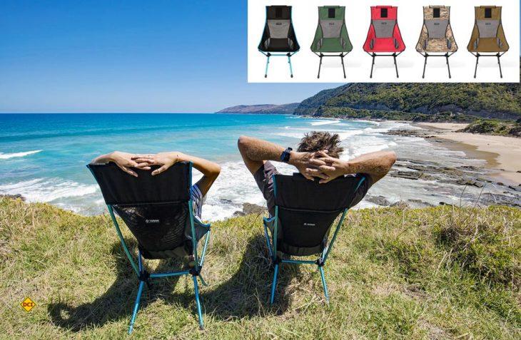 Der faltbare Stuhl Sunset Chair von Helinox punktet mit seiner hohen Rückenlehne und bietet damit besonders großen Sitzkomfort. (Foto: Werk)