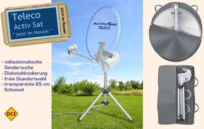 Teleco Avtiv SAT: Eine tragbare und vollautomatische arbeitende Satelliten-Anlage mit neuester Technik. Damit wird die Satelliten-Suche zum Kinderspiel. (Foto: Werk / Montage: tom)
