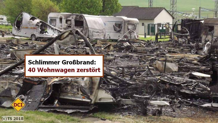 Ein Großbrand hat in Wuppertal mehr als 40 Wohnwagen zerstört. Geschätzter Schaden: Über eine Millionen Euro. (Foto: tom)