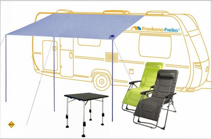 Der Urlaub kann kommen mit Relax-Sesseln, HighQ-Campingtisch und Playa-Sonnenschutz von Frankana. (Grafik: Frankana)