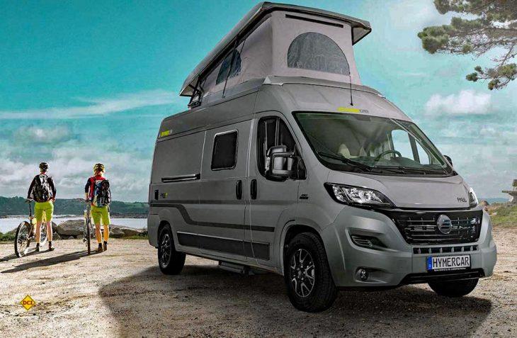 Mit der neuen Baureihe Free bietet Hymercar zwei moderne Campingbusse speziell für Einsteiger an. Hier der Free mit Option Aufstelldach. (Foto: Werk)