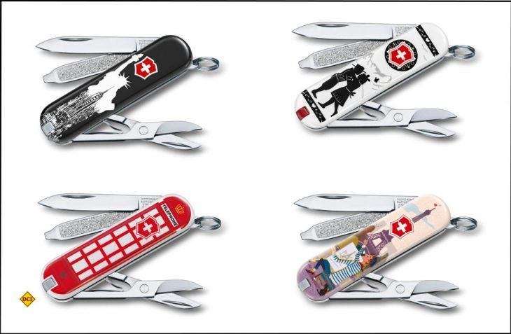 Die diesjährige Design-Kollektion von Victorinox Taschenmessern stammt aus der Schweiz, Deutschland, Ungarn, Rumänien, Griechenland, Mexiko, Indonesien sowie den USA. (Foto: Victorinox)