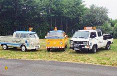 Drei Generationen von Servicefahrzeugen dokumentieren ein Stück Zeitgeschichte. (Foto: VWN)
