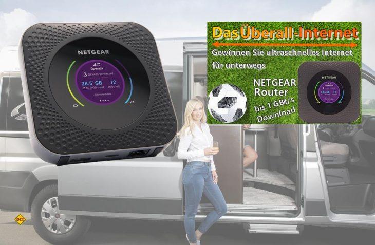 Mit dem neuen Router Nighthawk M1 (MR1100) sorgt Netgear für schnelles Internet in Reisemobil und Caravan. (Foto: Netgear / Caravan Salon)