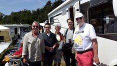 Der Dreh hat sehr gut funktioniert. Entsprechend gut gelaunt ist die WDR-Crew, Maria Dhonau und Dieter Goldschmitt (Foto: tom/DCI)