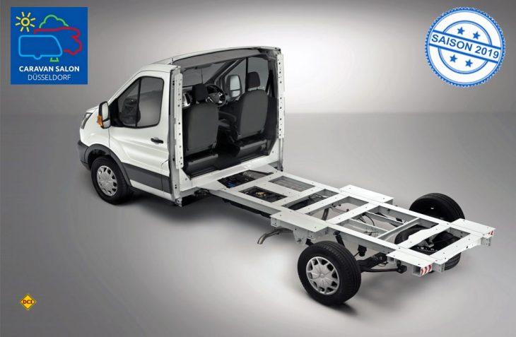 Speziell für Aufbaufahrzeuge hat Ford für den Transporter Transit ein Tiefrahmenfahrgestell mit weniger Gewicht und optimierter Höhe im Programm. (Foto: Ford)