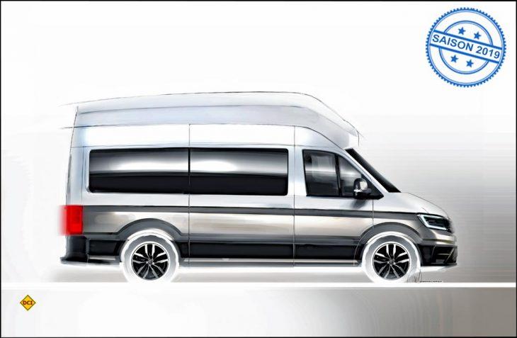 Erstes Rendering: Das neue VW-Reisemobil auf Crafter-Basis wird es auch in den beliebten Zweifarb- Lackierungen geben. (Grafik: Werk)