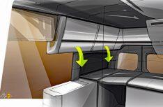 Modern designt: Der helle Innenraum mit seinen praktischen Details. (Grafik: Werk)