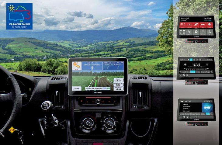 """Die neue Car Multimedia Range """"Series 990"""". von Blaupunkt st eine 2-DIN-Einheit mit einem 10,1 Zoll großen, kapazitiven Touchscreen und Camper Navi auf Wunsch. (Foto: Blaupunkt)"""