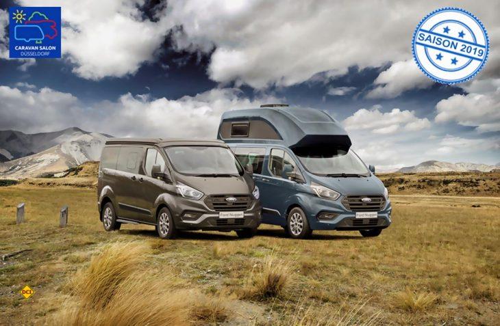 Die zwei Neuen auf dem Caravan Salon 2018: Der Ford Nugget mit Aufstelldach und der Ford Nugget Plus, beide auf Transit Custom. (Foto: Ford)