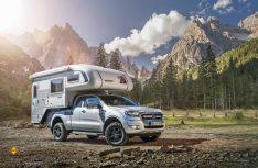Der Ford Ranger hat sich als solides Pick Up-Basisfahrzeug für Absetzkabinen bewährt. Hier der Ranger mit einer Tischer Trail-Kabine. (Foto: Ford)