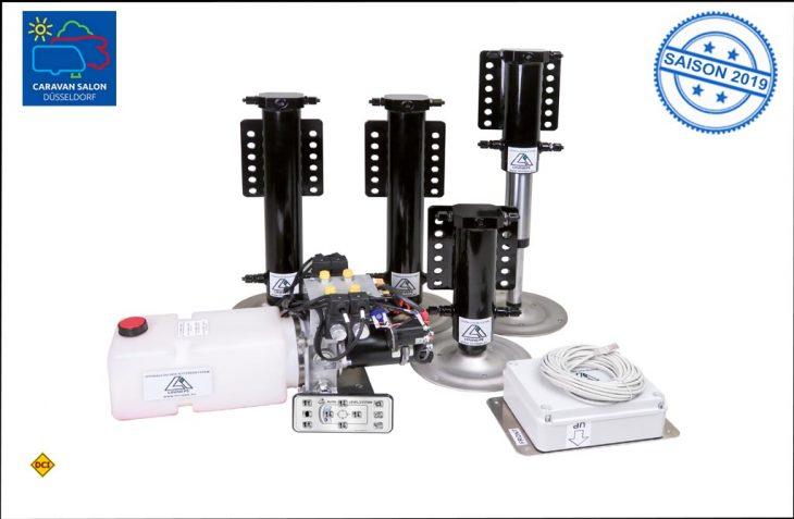 Das neDas neue Linnepe-Hubstützensystem System QuickLift besteht aus vier Hubstützen, Pumpenblock, Ölbehälter, Hydraulikleitungen und einer elektronischen Steuerung. (Foto: Linnepe)ue Linnepe-Hubstützensystem System besteht aus vier Hubstützen, Pumpenblock, Ölbehälter, Hydraulikleitungen und einer elektronischen Steuerung. (Foto: Linnepe)