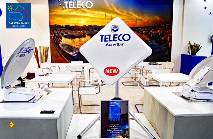 Der italienische Zubehör-Spezialist Teleco bringt mit der Activ-Sat seine erste tragbare, vollautomatische Satelliten-Antenne auf den Markt. Hier die Version als Flachantenne. (Foto: det)