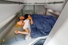 Der kürzere Grand California 600 hat ein quer angelegtes Heck-Doppelbett. (Foto: Werk)