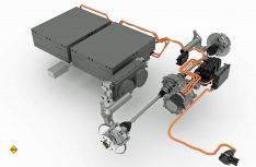 Der E-Antrieb des AL-KO Hybrid Power Chassis. Mit den entsprechenden Energiespeichern und der intelligenten Steuereinheit können Sie die Fahrzeuge bis zu 100 Kilometer rein elektrisch fahren. (Foto: Al-Ko)