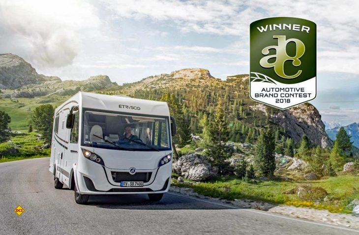 Das neue Modell I 6900 QB der Reisemobil-Marke Etrusco wird beim Internationalen Automotive Brand Contest mit dem Winner-Label prämiert. (Foto: Etrusco)
