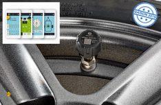 Die easydriver safetyre-Sensoren werden einfach statt der normalen Kappen auf das Ventil des Reifens aufgesetzt, die Werte werden auf das Smartphone übertragen. (Foto: Reich)