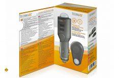 Das Alarm-Set TX-100 von Technaxx kommt mit mit einem sensorgesteuerten Alarm-Stick für den Zigarettenanzünder und einer Ferndbedienung. (Foto: Werk)