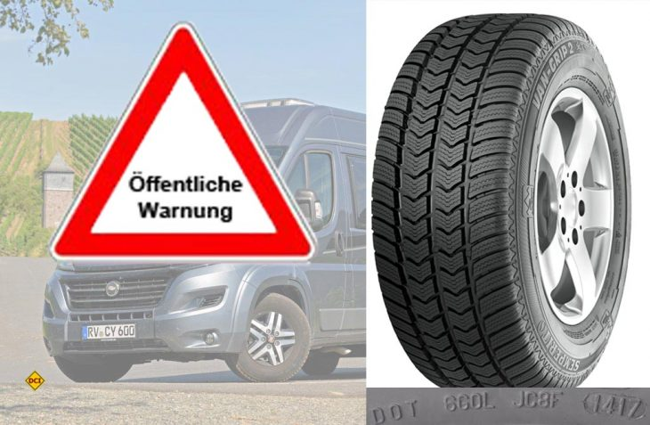 Das Kraftfahrt-Bundesamt KBA warnt vor speziellen Van-Transporterreifen, bei denen sich die Lauffläche ablösen kann. (Foto: Semeoerit/KBA)