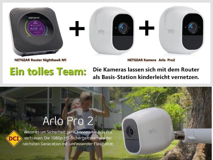 Der pfeilschnelle Router Netgear Nighthawk M1 und die Full-HD-WLAN-Kameras aus der Arlo Pro 2-Serie bilden ein tolles Team. (Foto: Werk)