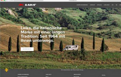 Der italienische Hersteller Laika hat seinen Webauftritt komplett modernisiert und bietet die Inhalte jetzt in acht Sprachen an. (Screenshot www.laika.it)