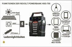 Die Funktionen der smarten Revolt-Powerbank HSG 750 von Pearl. (Fpto: Pearl)
