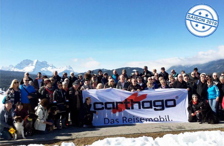 Knapp 80 Carthago-Fans trafen sich mit ihren Reisemobilen zum traditionellen Carthago-Wintertreffen 2019 am Alpen-Caravanpark Tennsee. (Foto: Carthago)
