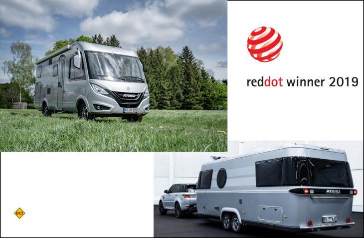 """Das Design Zentrum NRW hat die Hymer B-Klasse MC I 580 und den neuen Eriba Touring 820 für hohe Designqualität mit dem """"red dot award 2019"""" ausgezeichnet. (Foto: Hymer)"""