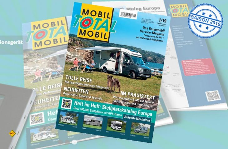 Mobil Total, Europas größter Stellplatz-Katalog ist jetzt wieder mit der top-aktuellen Ausgabe 1_2019 im Handel. (Foto: Mobil Total)