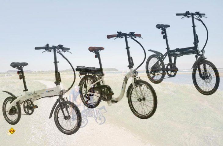 """Mit drei neuen E-Faltbikes geht Blaupunkt in die neue Saison. Von links: Das 16 Zoll-Bike """"Carla 190"""", """"Clara 390"""", der 20-Zöller mit tiefem Einstieg und das 20 Zoll große """"Carl 290"""". (Foto: Blaupunkt)"""