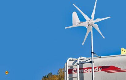 Für längere autarke Aufenthalte, Fern. und Expedotionsreisen sind Winräder eine optimale Ergänzung zur Ernergieerzeugung. Hier der Pearl revolt Drehstrom-Windgenerator 300 Watt. (Foto: det / D.C.I.)