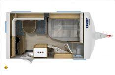 Trotz kurzer Außenmaße: Kompletter Duschraum und Küche im neuen Fendt Active 390 FHS. (Grafik: Werk)