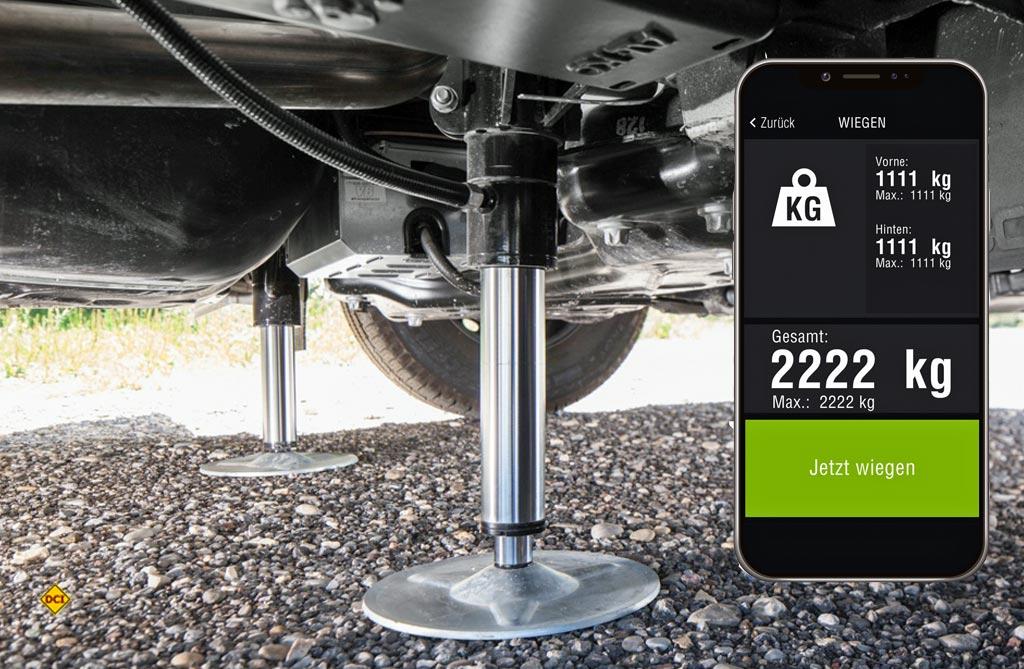 it der Wiegefunktion für das AL-KO Stütz-und Nivelliersystem HY4 gehören eine falsche Be- und eine gefährliche Überladung von Reisemobilen und Kastenwagen der Vergangenheit an. (Foto: Al-Ko)