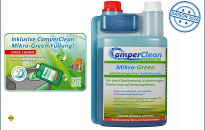 Positive Ökobilanz: Dank des mikrobiologischen Sanitärzusatzes Mikro Green von CamperClean wird die Umwelt geschont. (Foto: CamperClean)