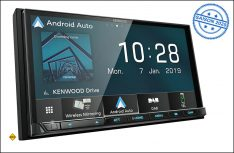 Kenwood präsentiert mit dem digitalen Moniceiver DMX8019DAB erstmals ein Gerät zur drahtlosen Kommunikation zwischen Receiver und Smartphone. (Foto: Kenwood)