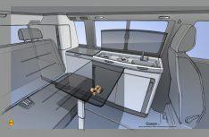 Erste Skizzen: So sieht der Volkswagen California T6.1 mit dem neuen Interieur aus. (Grafik: Volkswagen Nutzfahrzeuge)