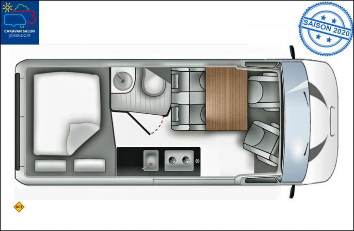 Ford stellt auf dem Caravan Salon 2019 eine seriennahe Studie zum neuen Transit Big Nugget aus. (Grafik: Ford)