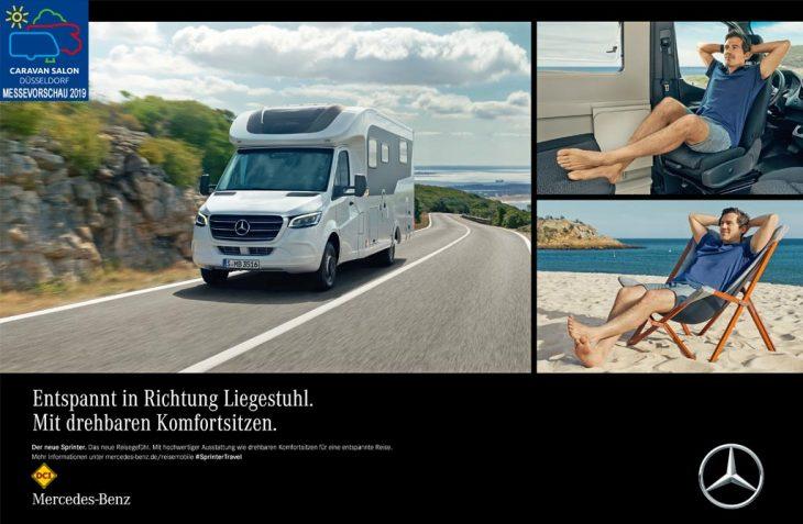 Mercedes-Benz startet zum Caravan Salon 2019 eine internationale Kommunikationskampagne für den Mercedes-Benz Sprinter als Reisemobilbasis. (Foto: Mercedes-Benz Vans)