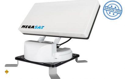 Der Traveller-Man 2 von Megasat bekommt Füsse: Die SAT-Antenne wird mit einem Zubehör-Kit mobil einsetzbar. (Foto: Megasat)