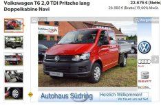 Das Wunschfahrzeug im Netz - Google hat´s gefunden: VW Der T6 Doppelkabiner in der Anzeige. (Foto: screenshot)