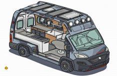 Eine erste Skizze vom Entwickler-Team für den Cliff 4x4 Adventure Van. (Foto: Sunight)