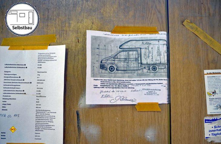 Auftrag und Mission: So soll die neue Kabine werden: Vertragsskizze von Stauber-Motorhomes mit Hauptmaßen. (Foto det / D.C.I.)