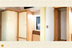 Eine helle Wandverkleidung und Fronten aus Kunststoff in Holzoptik sorgen für Helligkeit in der Kabine. (Foto: Schwab/madeinrussia.de)