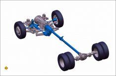 Der Antriebsstrang des 4x4 Crafter von Oberaigner: Permanenter Allradantrieb mit selbstsperrendem Mittendifferential (Torsen-Differential) bei asymmetrisch-dynamischer Momenten-Verteilung. (Foto: Vokswagen Nutzfahrzeuge)