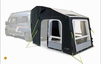 Dometic präsentiert mit dem Kampa Dometic Rally AIR Pro 240 T/G ein hochwertiges, aufblasbares Heckzelt für Kastenwagen mit Hecktüren. (Foto: Dometic)